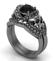 Skull Engagement Ring Set in Black Over Temple ... - $329.00