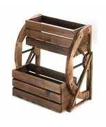 Wagon Wheel Wood Double Tier Planter - $106.27 CAD