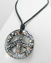 Large Black Glass silver & gold Speckled Peace Sign Necklace Trendy - £12.61 GBP