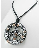 Large Black Glass silver & gold Speckled Peace Sign Necklace Trendy - $16.15