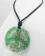 Large Green Glass Silver & Gold Speckled Peace Sign Necklace - $16.15