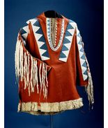 Men Native American Buckskin Red Buffalo Leather Beaded Powwow War Shirt... - $449.10