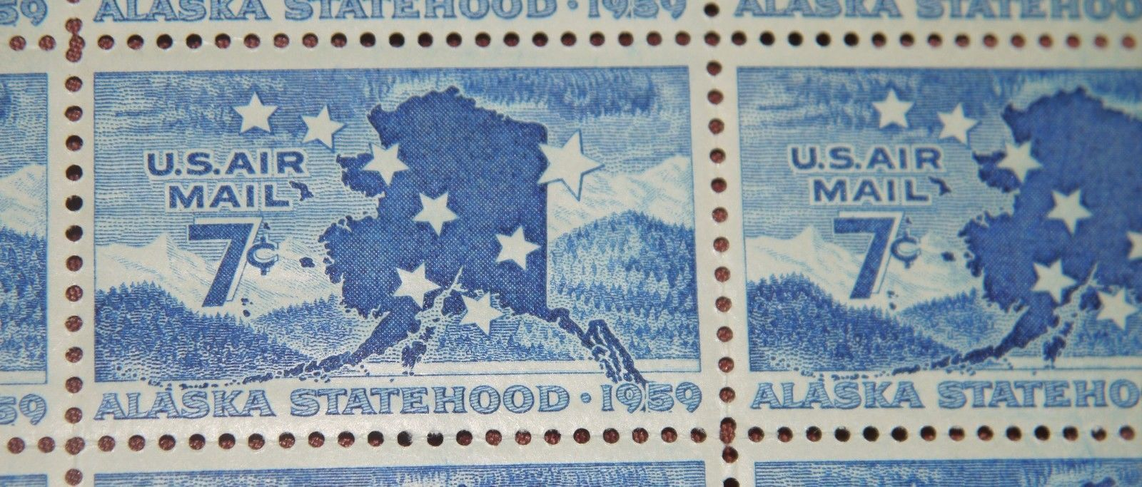 Alaskan Statehood 1959 Commemorative 7 Cent Air Mail Stamps Sheet of 49 MNH