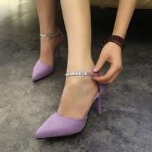 PS013 lfashion ankle sandals w rhinestone strap, size, 34-49, violet - $48.80