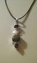 Handmade Genuine Natural Labradorite & Amethyst Gemstone Blue Crystal Ne... - $7.99
