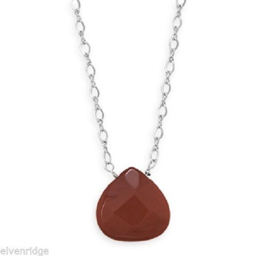 "16.5"" + 2"" Red Jasper Drop Necklace Sterling Silver"