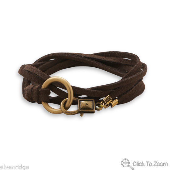 "26"" Double Strand Suede Wrap Fashion Bracelet With Brass Ring"