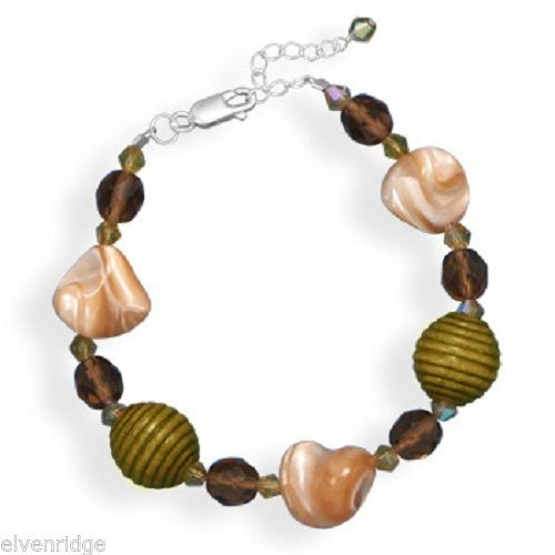 "7""+1"" Shell, Glass and Wood Bead Bracelet Sterling Silver"