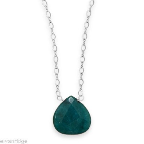 "16.5"" + 2"" Green Jade Drop Necklace Sterling Silver"