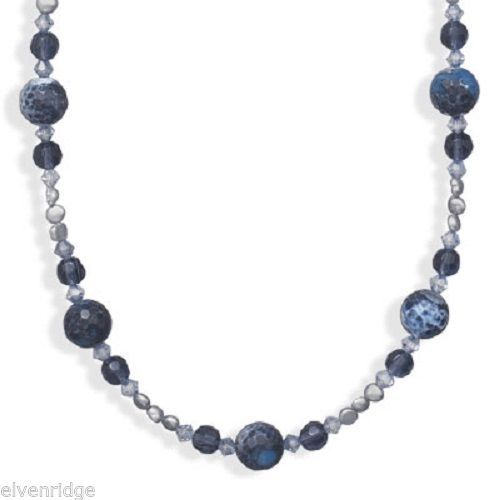 "16"" + 2"" Blue Fire Agate and Cultured Freshwater Pearl Necklace Sterling Silver"