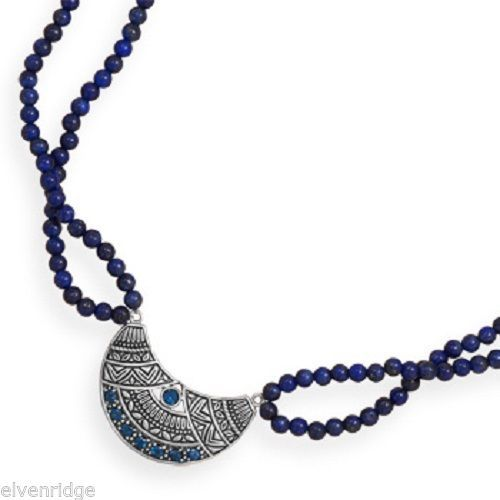 "19"" Double Strand Lapis Necklace with Oxidized Topaz Pendant Sterling Silver"
