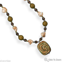 """22""""+2"""" Shell and Wood Necklace with Ceramic Rose Pendant"""