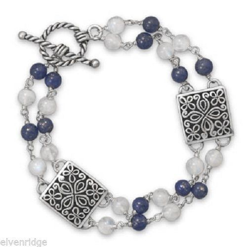 "8"" Oxidized Lapis and Rainbow Moonstone Toggle Bracelet Sterling Silver"