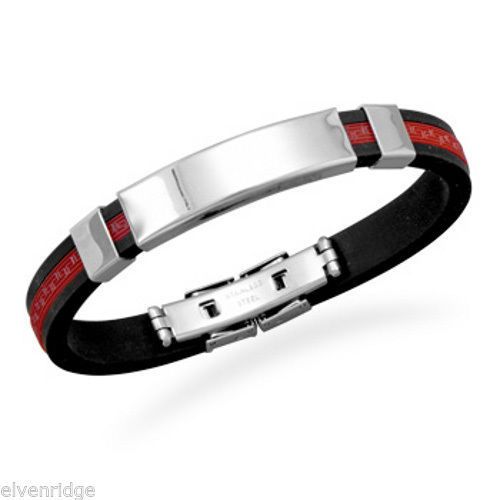 "8"" Stainless Steel and Red Rubber ID Bracelet"
