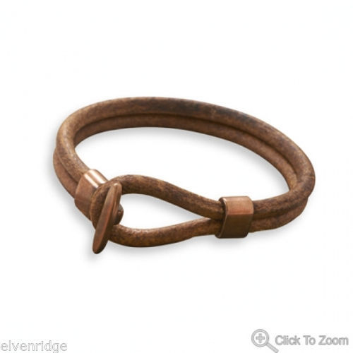 "9"" Double Strand Leather and Copper Bracelet"