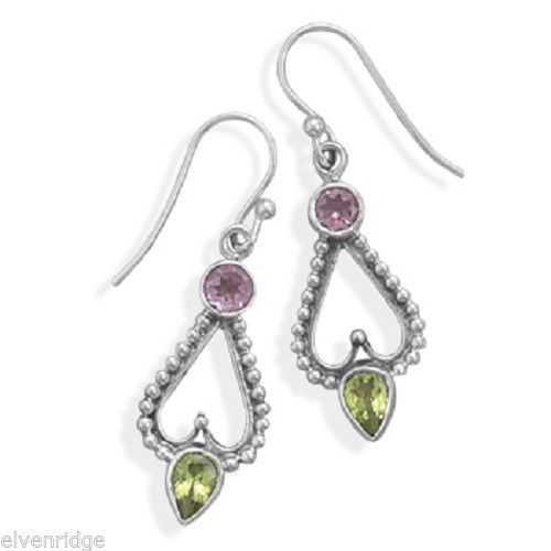 Amethyst and Peridot Earrings on French Wire