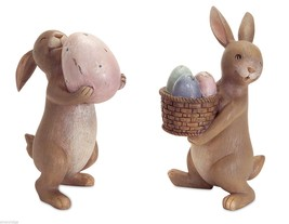 Adorable Bunny Rabbit Duo Working with the Eggs