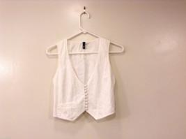 DIVIDED H&M Women's Size 6 White Vest V-Neck Button Front Floral Eyelet + Pocket