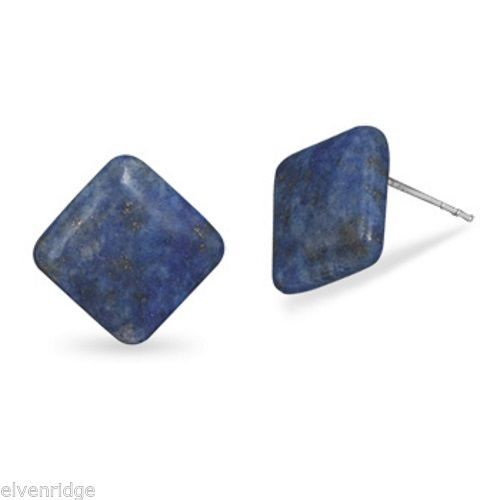 Diamond Shape Lapis Button Earrings Sterling Silver