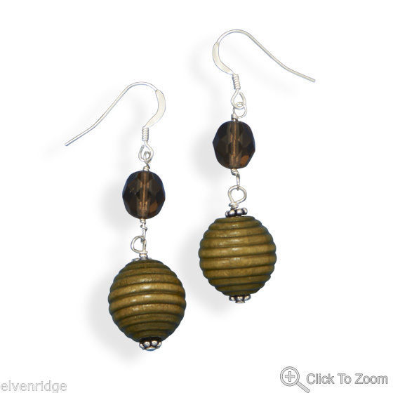 Glass and Wood Bead Earrings Sterling Silver