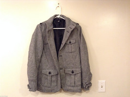 H&M Size 40R Pea Coat Gray Heavy Wool-Blend Single-Breasted w/ Elbow Patches