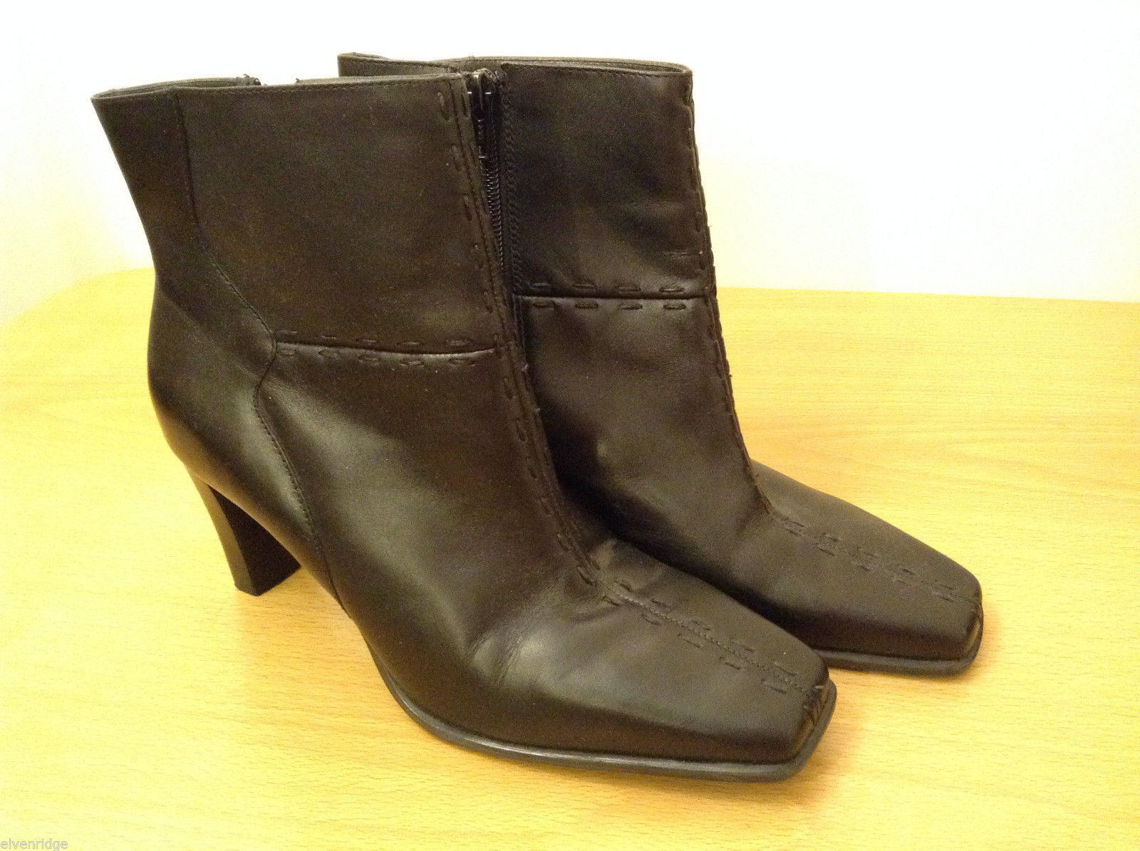 "Markon Women Size 8 Whitney Booties Boots Black Mid-Calf Leather Upper 3"" Heel"