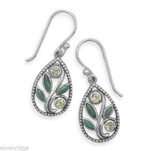 Malachite and Peridot Drop Earrings Sterling Silver