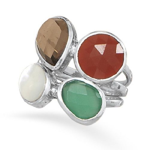 Onyx, Carnelian, Shell and Quartz Ring Sterling Silver