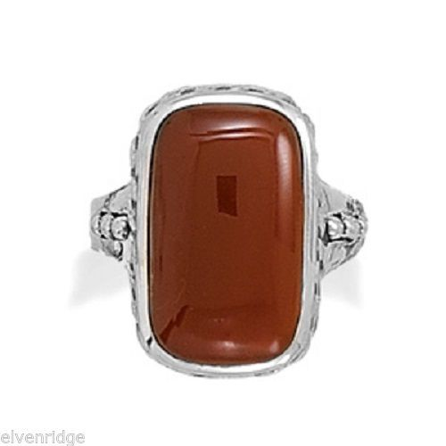 Oxidized Carnelian Ring Sterling Silver