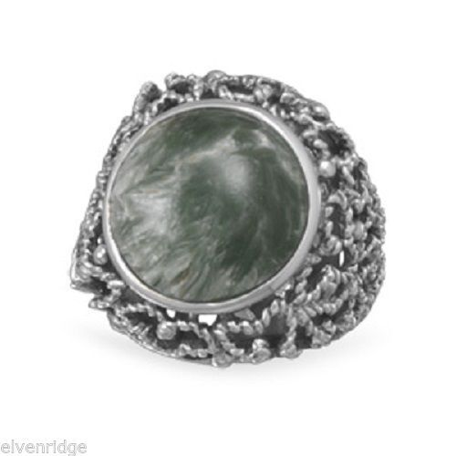 Oxidized Seraphinite Ring Sterling Silver