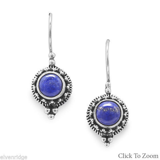 Round Lapis Bead/Rope Edge Earrings on French Wire Sterling Silver