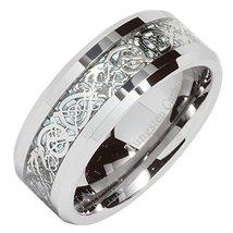 8mm Men's Tungsten Carbide Silver Celtic Dragon Inlay Mens Ring Wedding ... - $19.79