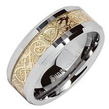 8mm Men's Tungsten Carbide Gold Celtic Dragon I... - $19.79