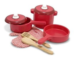 Melissa & Doug Deluxe Wooden Kitchen Accessory Set - $27.04