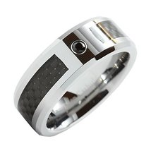 Men's Tungsten Carbon Fiber Ring Black Cubic Zirconia Inlay Wedding Band... - $39.59