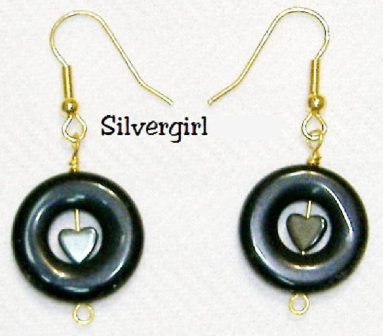 Blackstone Hematite Heart Donut Dangle Earrings