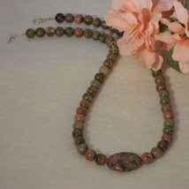 Unakite Gemstone Beaded Necklace  FREE SHIPPING - $32.00