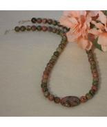 Unakite Gemstone Beaded Necklace  FREE SHIPPING - $32.00