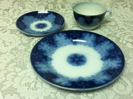 Antique, 3-pc Set, Made in Germany Flow Blue , Plate, Cup and Saucer - $47.45
