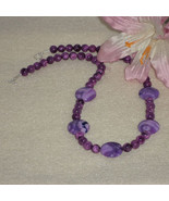 Purple Crazy Lace Agate Gemstone Beaded Necklace    FREE SHIPPING - $32.00