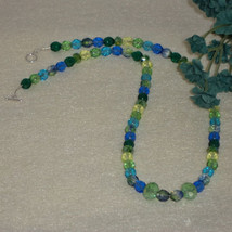 Czech Glass Beaded Necklace Of Blues and Greens... - $25.00