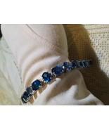 Vintage 95.5% Sterling Silver Natural London Blue Topaz Tennis Bracelet - $172.98