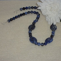 Sodalite Gemstone Beaded Necklace   FREE SHIPPING - $32.00