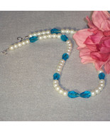 Pearl And Aqua Glass Beaded Necklace  FREE SHIPPING - $25.00