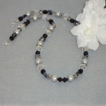 Black And Silver Beaded Necklace With Mixture Of Shapes And Sizes FREE S... - $27.00