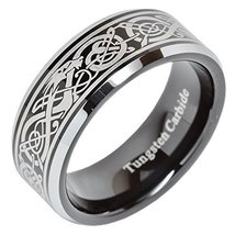8mm Tungsten Carbide Ring Celtic Dragon Scroll Engraved Wedding Band Siz... - $39.59