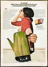 1972 Sears FlavorFresh Perk Pot PRINT AD Go Ahead! 100% Immersible - $10.89