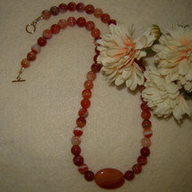Red Orange Sardonyx Gemstone Beaded Necklace FREE SHIPPING - $30.00