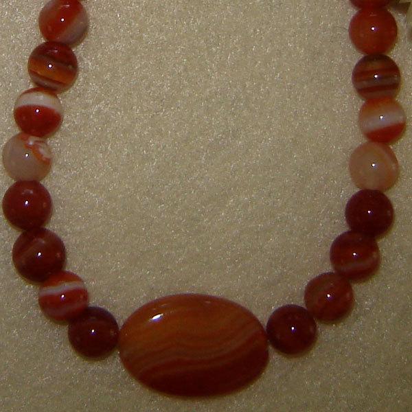 Red Orange Sardonyx Gemstone Beaded Necklace FREE SHIPPING