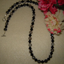 Silver Smoke Jasper Gemstone Beaded Necklace FREE SHIPPING - $30.00